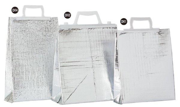 画像1: 保冷袋 ミナクールパック アイス用手提げ角底袋Mサイズ CH12 (260×290+135mm) 酒井科学工業 1ケース100枚入り (1)